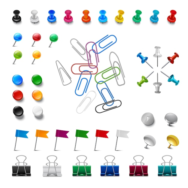 Realistic pushpins and clips Free Vector
