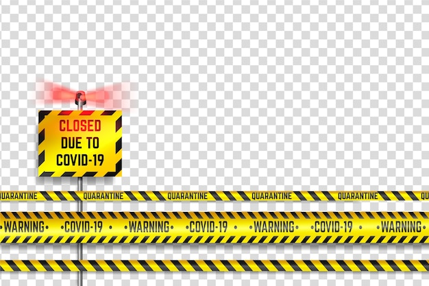 Realistic quarantine stripe set design Free Vector
