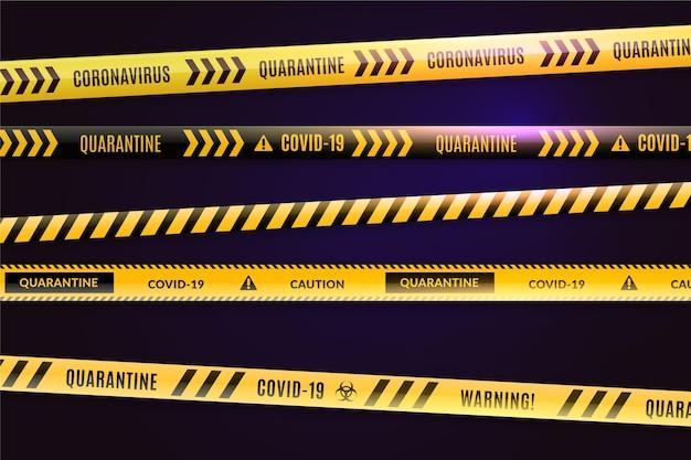 Realistic quarantine stripes concept Free Vector