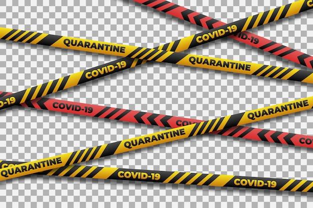 コロナウイルスの現実的な検疫ストライプ 無料ベクター