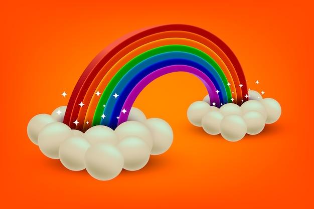 現実的な虹のコンセプト 無料ベクター