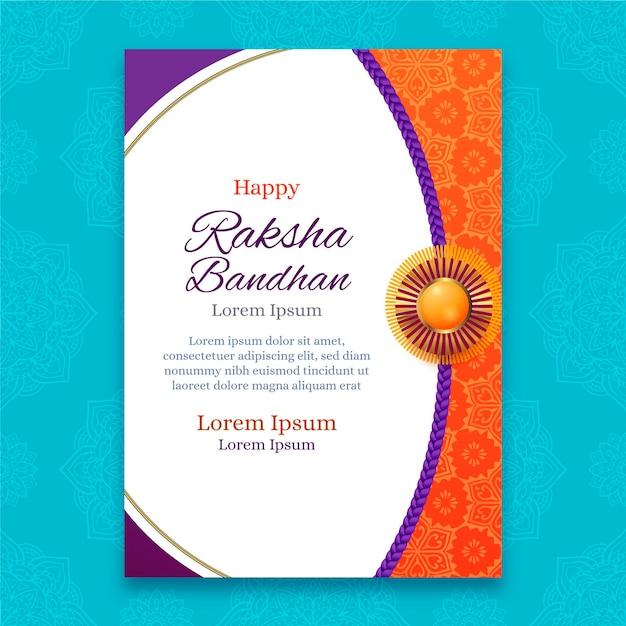 realistic raksha bandhan greeting card  free vector