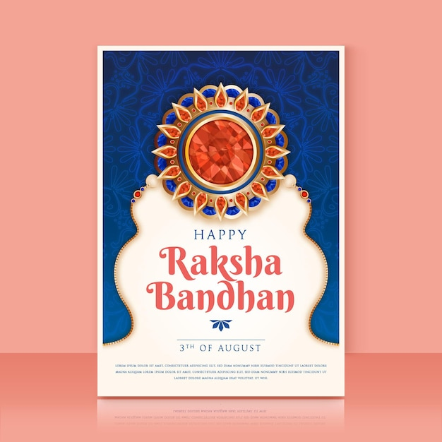 Cartolina d'auguri realistica di raksha bandhan Vettore gratuito
