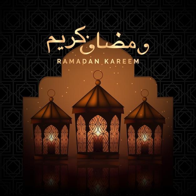 Realistic ramadan concept Free Vector