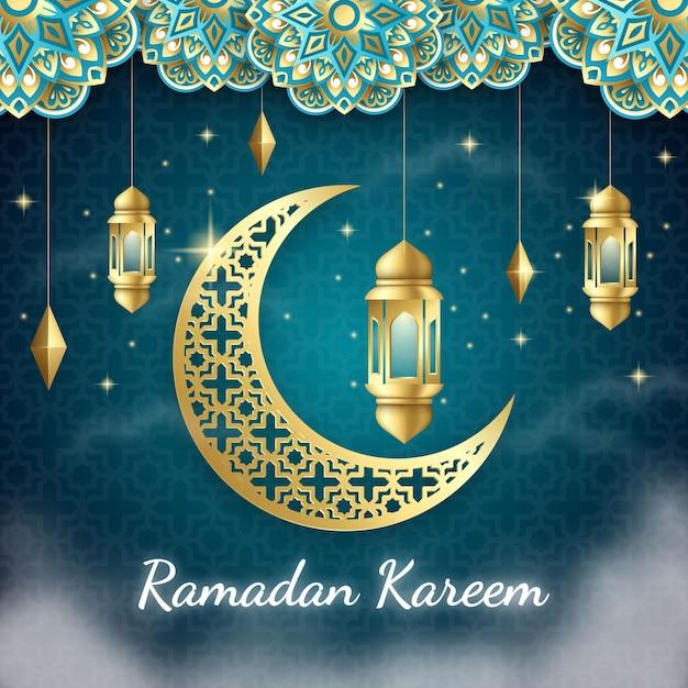 Реалистичный фон рамадан карим Бесплатные векторы
