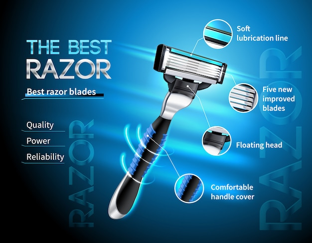 Realistic razor with five blades and floating head advertising poster on gradient blue template Free Vector