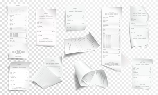 Realistic receipt collection Free Vector