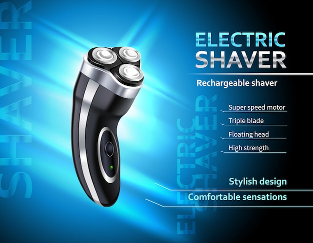 Realistic rechargeable electric shaver with speed motor advertising poster on gradient blue template Free Vector