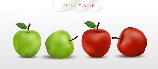 Реалистичные красные и зеленые яблоки Premium векторы