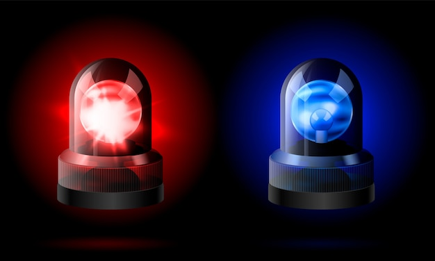 Realistic red and blue flashers siren. Premium Vector