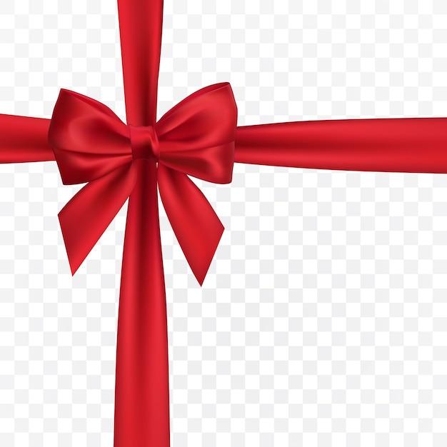 リアルな赤い弓。装飾ギフト、挨拶、休日の要素。 Premiumベクター