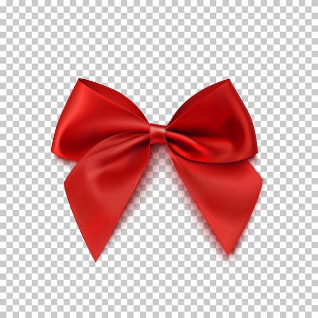 Realistic red bow isolated on transparent background. Premium Vector