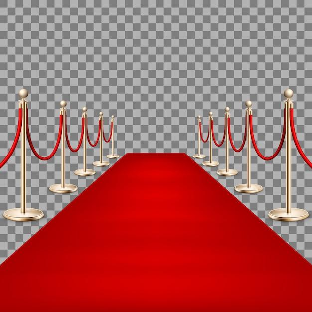 Realistic red carpet between rope barriers. Premium Vector