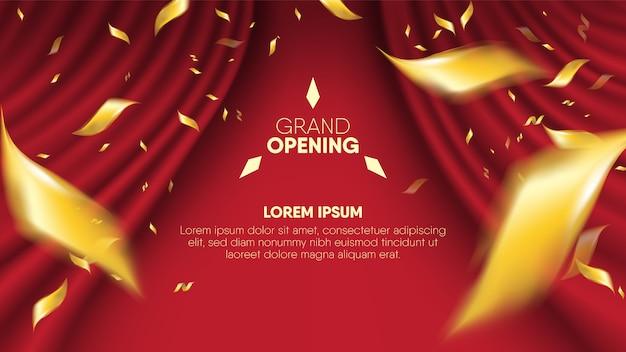 Realistic red  curtain background plus scattering blur golden confetti. Premium Vector