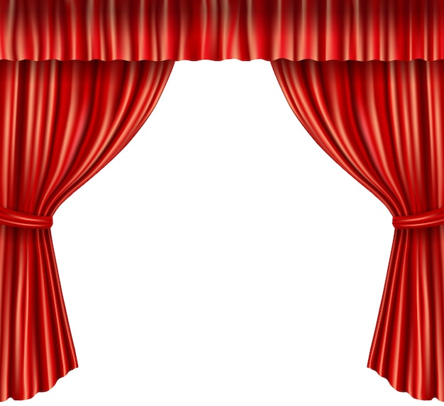 Realistic Red Curtain Background Free Vector