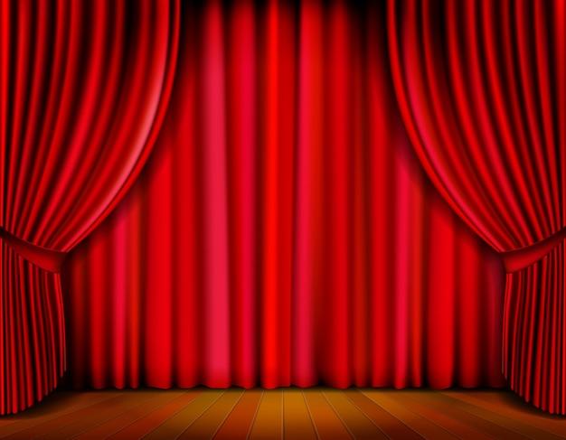 Sipario rosso realistico sul palco in legno Vettore gratuito
