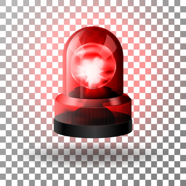 Realistic red flasher siren for cars. Premium Vector