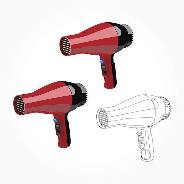 Realistic red hair dryer illustration Premium Vector