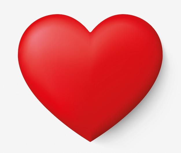 그림자와 함께 현실적인 붉은 심장 프리미엄 벡터