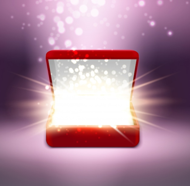 Realistic red open jewelry box with shine on blurred purple Free Vector