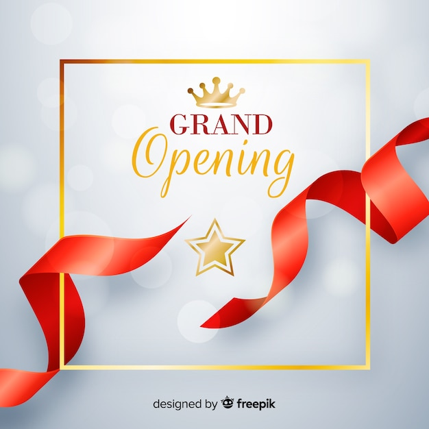 Realistic red ribbon with golden details grand opening background Free Vector