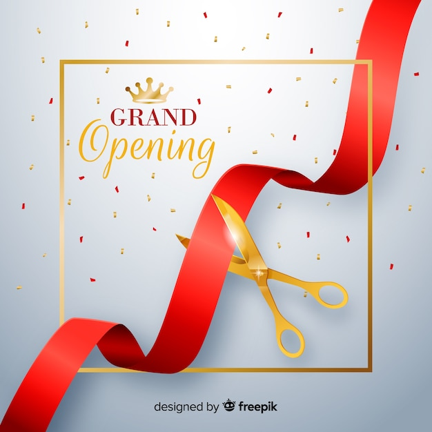 Realistic red ribbon with golden scissors grand opening background Free Vector