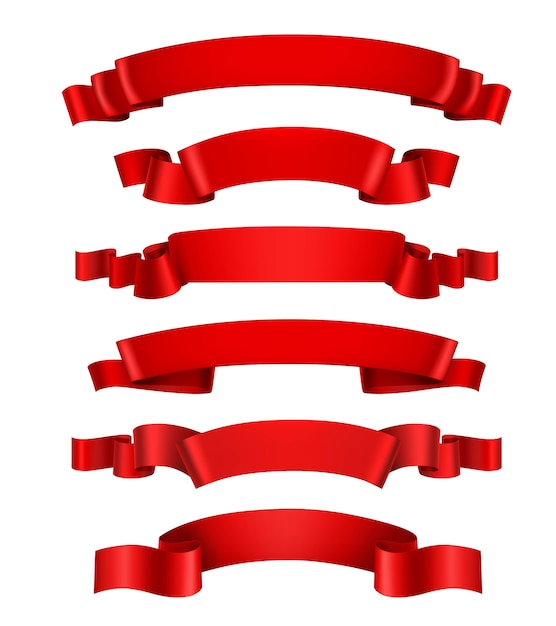 Realistic Red Ribbons Free Vector