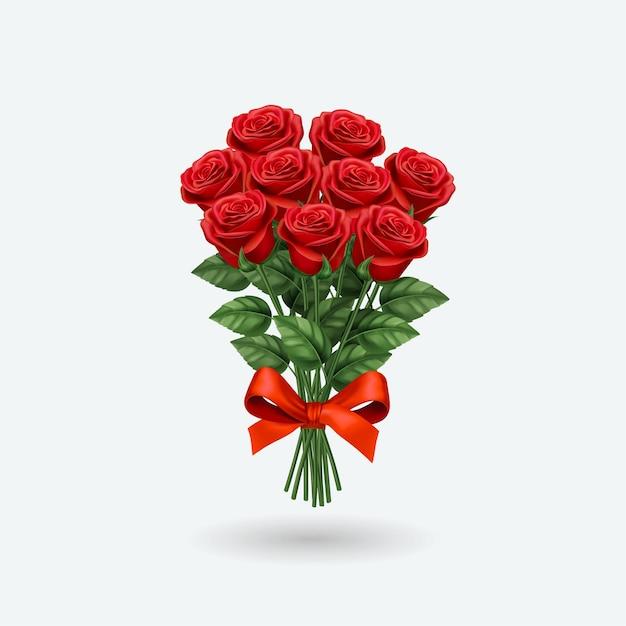 현실적인 붉은 장미 꽃다발. 프리미엄 벡터