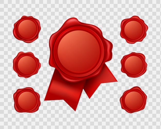 Realistic red sealing wax collection Free Vector