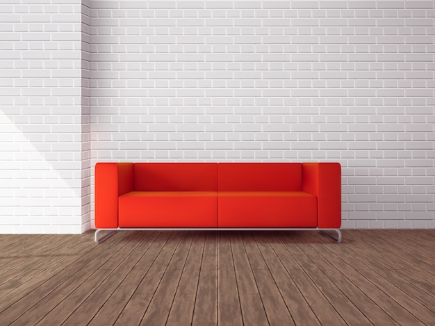 Realistic red sofa in room Free Vector
