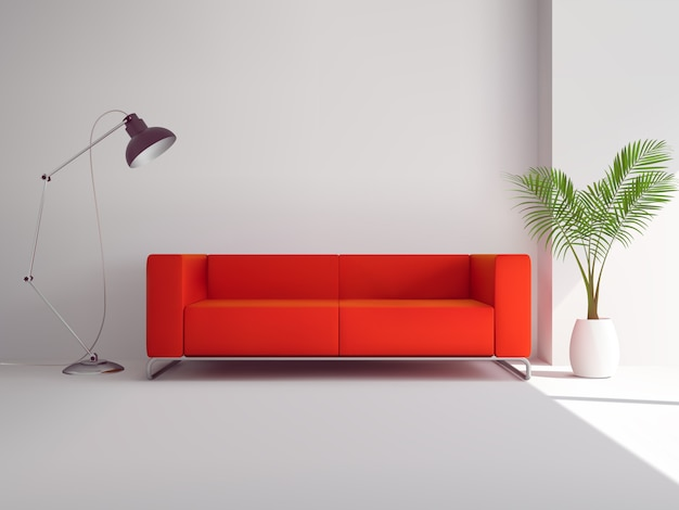 Realistic red sofa Free Vector