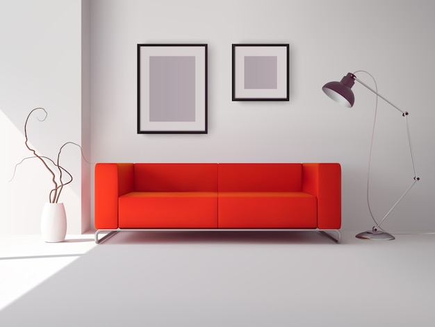 Realistic red square sofa with lamp Free Vector