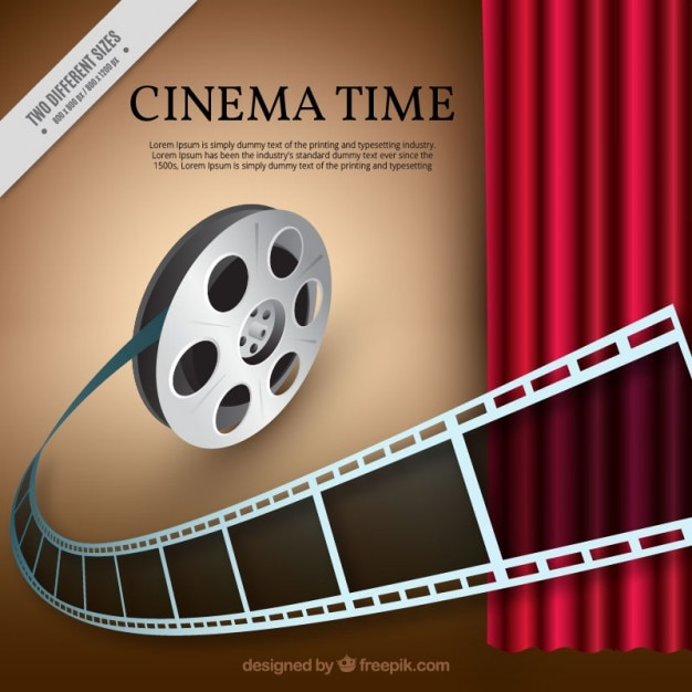 Realistic reel with red curtain background Free Vector