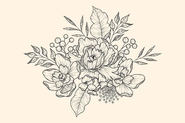 Realistic retro flower bouquet hand drawn Free Vector