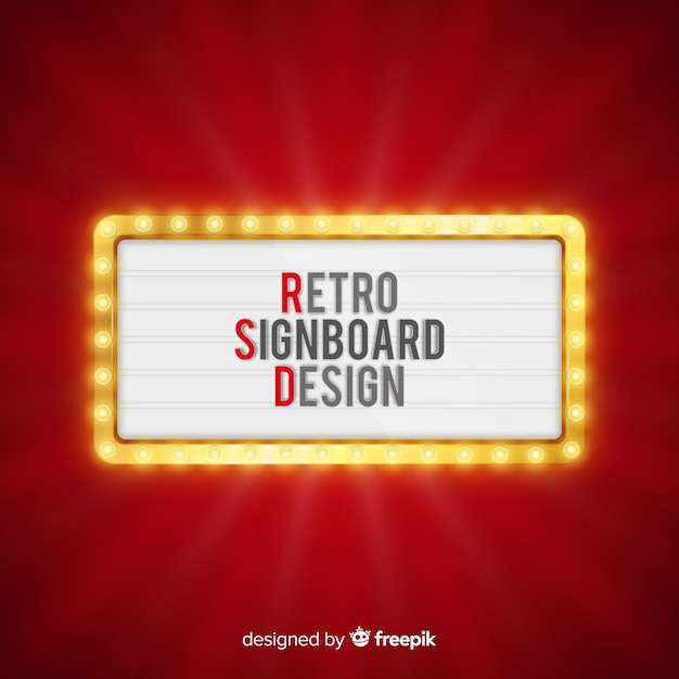 Realistic retro light billboard background Free Vector
