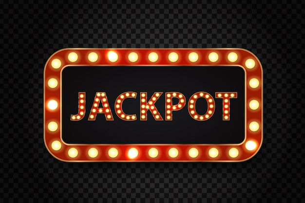 Realistic  retro neon billboard for jackpot with glowing lamps on the transparent background. Premium Vector
