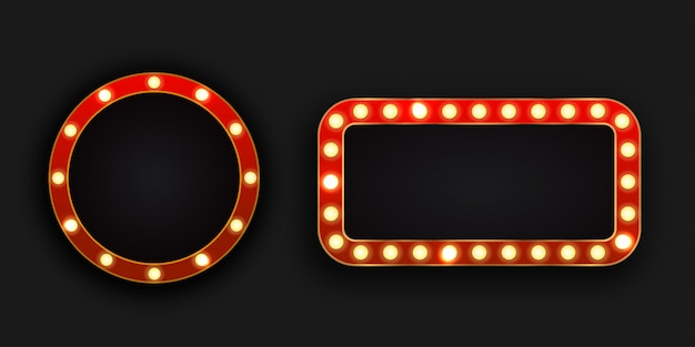 Realistic  retro neon billboards on the dark background. template for vintage decoration and signboard. Premium Vector