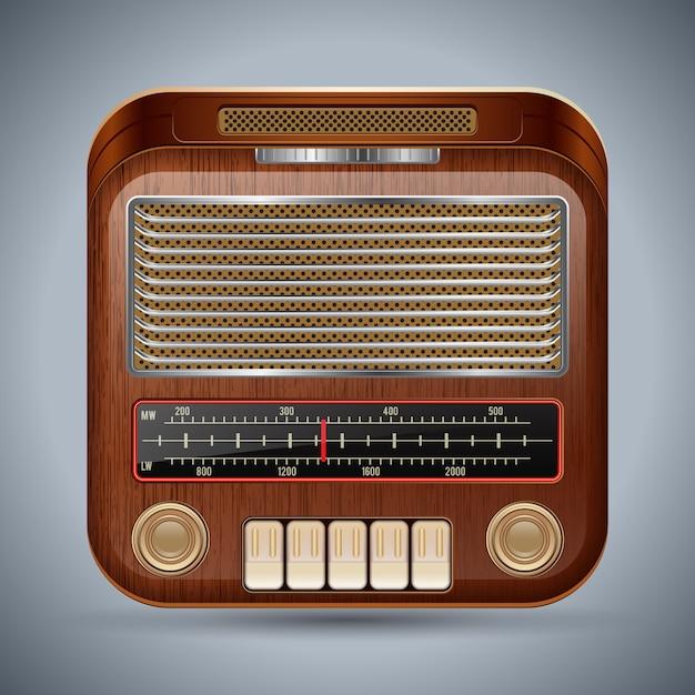 Realistic retro radio receiver vector icon Premium Vector