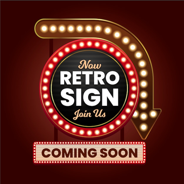 Realistic retro sign Free Vector