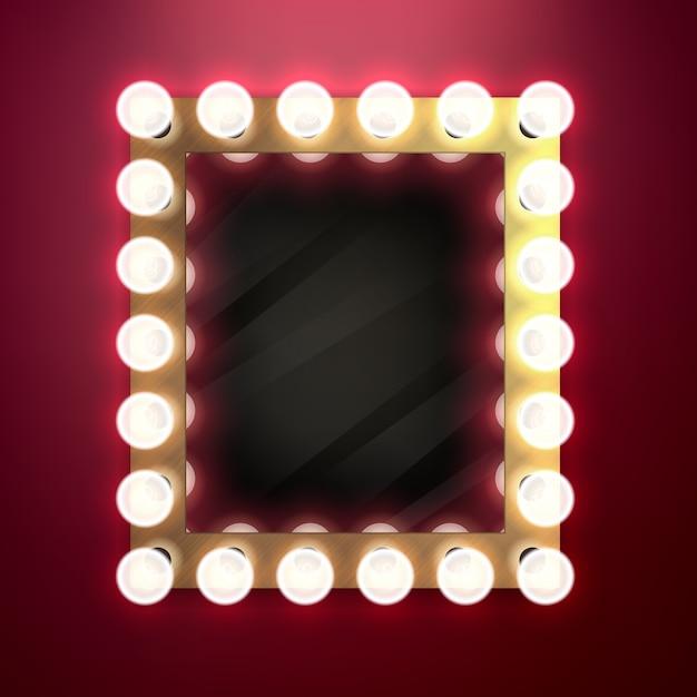 現実的なレトロなヴィンテージは、電球のイラストが付いているミラーを構成します。美容舞台裏のコンセプト。 Premiumベクター