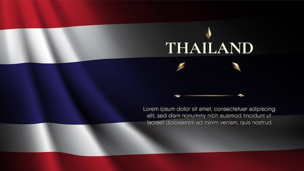 Realistic rib curl thailand flag plus space for text Premium Vector