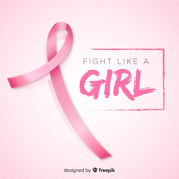 Realistic ribbon for breast cancer awareness event Free Vector
