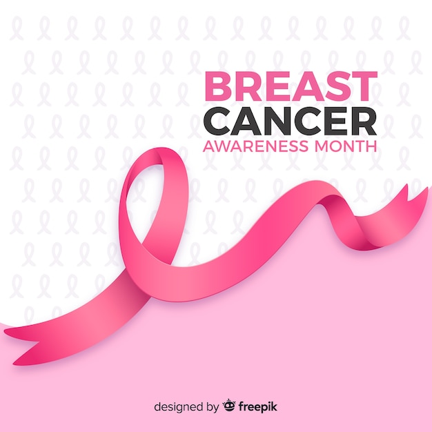 Realistic ribbon breast cancer awareness month Free Vector