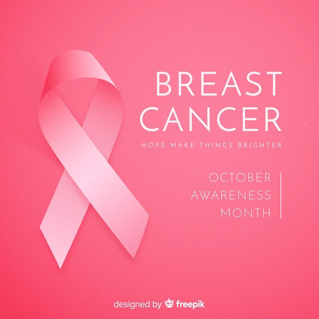 Realistic ribbon breast cancer awareness Free Vector