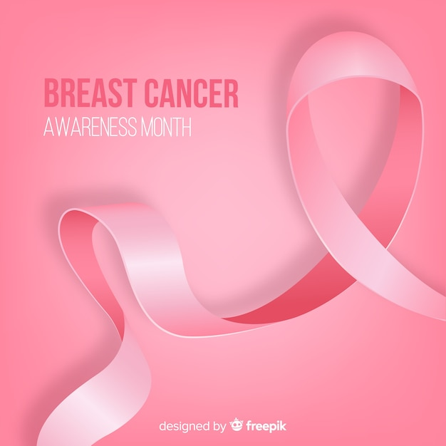 Realistic ribbon for breast cancer awarness Free Vector
