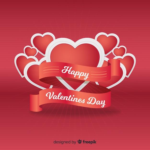 Realistic ribbon valentine background Free Vector