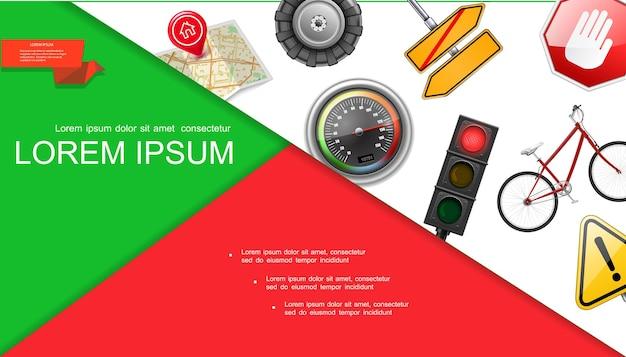 신호등 타이어지도 핀 포인터 속도계 간판 자전거 경고 기호 일러스트와 함께 현실적인 도로 및 교통 구성 무료 벡터