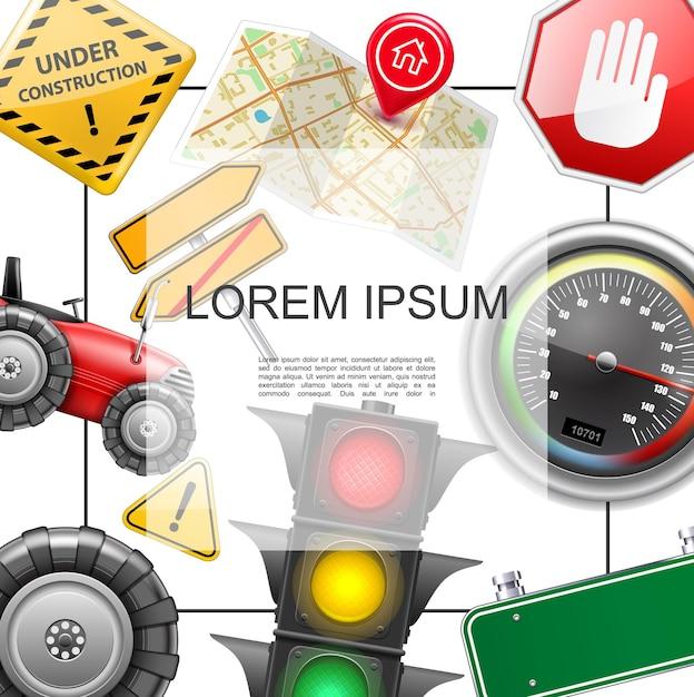 텍스트지도 속도계 트랙터 신호등 타이어 도로 및 건설 표지판 그림 프레임 현실적인 도로 요소 개념 무료 벡터
