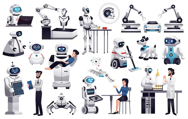 현실적인 로봇 컬렉션 무료 벡터