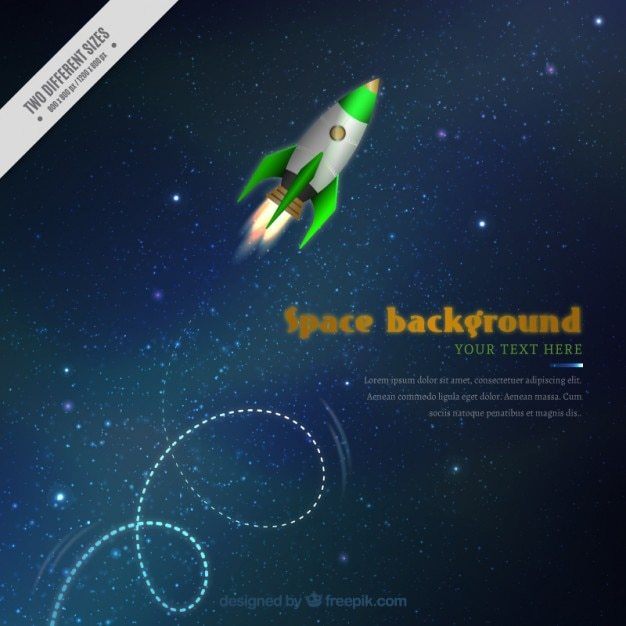 Realistic rocket in the space background